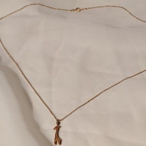 Delicate Giraffe Necklace Gold Plated Sterling